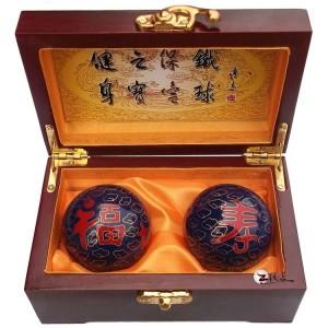 高档木盒福寿景泰蓝保健球