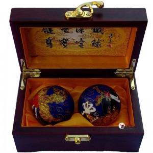 高档木盒蓝色景泰蓝金龙凤