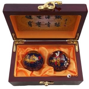 45mm蓝色龙凤呈祥景泰蓝保健球木盒装